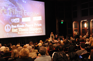 Ron Kovic presenting his Peace Award in front of the 2010 MY HERO Film Festival audience