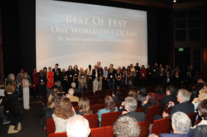 Audience applauds all filmmakers and staff at the MY HERO International Film Festival, after the Best of Fest award was announced