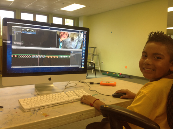 Fernando -grade 5 works on his film during the ECO-Heroism program at the Laguna Beach Boys and Girls Club