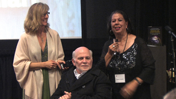 Wendy Milette, Ron Kovic, and Joanne Tawfilis award Fauzia Minallah the Ron Kovic Peace Award at the 2010 MY HERO Short Film Festival