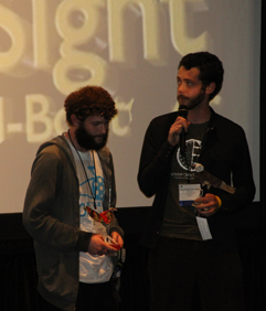 Jacob Seigel-Boettner and cinematographer Ian Wexler receive their 2010 Dan Eldon Activist Award at the 2010 MY HERO Film Festival, for their short film <i>Pedal=Sight</i>