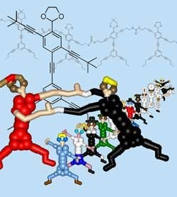 Each NanoPutian cartoon figure is based on a molecule