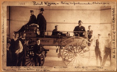 Patrol wagon-ambulance, Chicago 1888<br> (Special Collections Research Center, The University of Chicago)