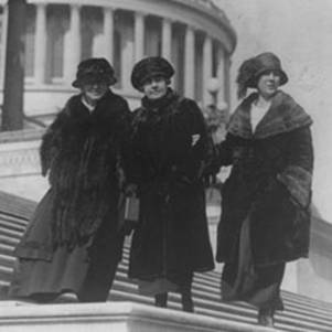 Left to right: Alice Robertson of Oklahoma (2nd woman elected to congress), Mae Ella Nolan of California (4th woman elected to congress), and Winnifred Mason Huck of Illinois (3rd woman elected to congress) pose on the House front steps of the U.S. Capitol, February 15, 1923. (Image courtesy of Library of Congress)
