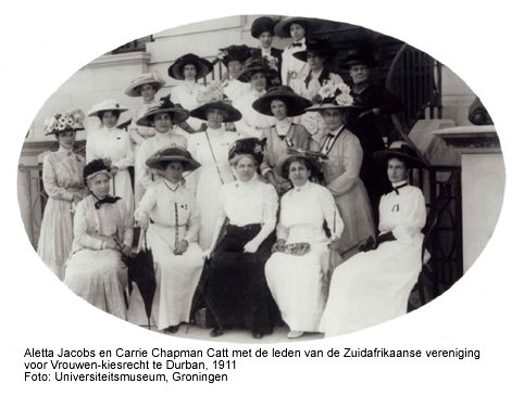 Aletta Jacobs and  Carrie Chapman Catt working for women's suffrage.