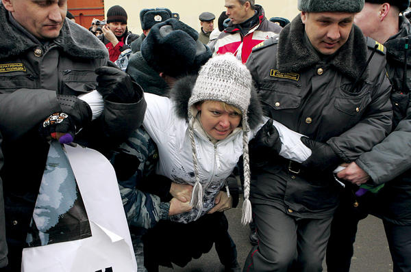 Yevgenia Chirikova was detained by Russian police for protesting a planned highway through the old-growth Khimki Forest.  <P>Konstantin Koutsyllo/Reuters
