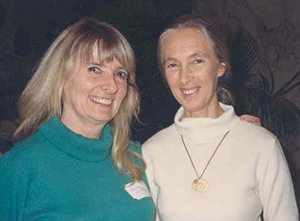 With chimpanzee expert Jane Goodall