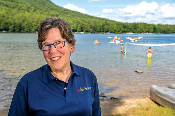 Peggy Stevens, founder of Kids4Peace Boston, brings US, Israeli, and Palestinian kids to Camp Merrowvista in Center Tuftonboro, N.H. <P>Ann Hermes/Staff