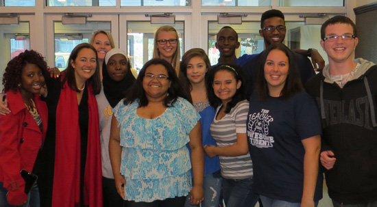 Erin with students at a screening of the Freedom Writers documentary in Omaha