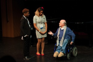 Ron Kovic with Queen McElrath and Aniea Cody, High School students from Nashiville who directed and performed HANDS UP DON'T SHOOT