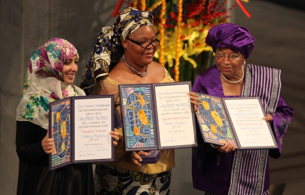 Left to right: 2011 Nobel Peace Prize Laureates Tawakkol Karman, Leymah Gbowee, President Ellen Johnson Sirleaf