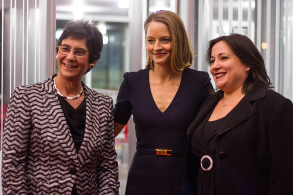 Melissa with Kitty Kolbert, co-founder of the Athena Film Festival, and Jodie Foster, recipient Laura Zaskin Lifetime Achievement Award (Photo: Courtesy of the Athena Film Festival. Credit: Jodie Chiang)