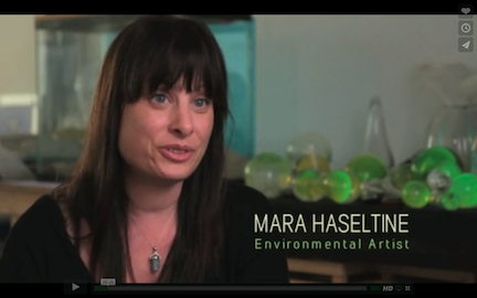 Artist Mara Haseltine in the film INVISIBLE OCEAN: Plankton & Plastic