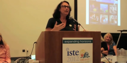 Taft High teacher Jerrilyn Jacobs addresses educators at the 2012 ISTE conference