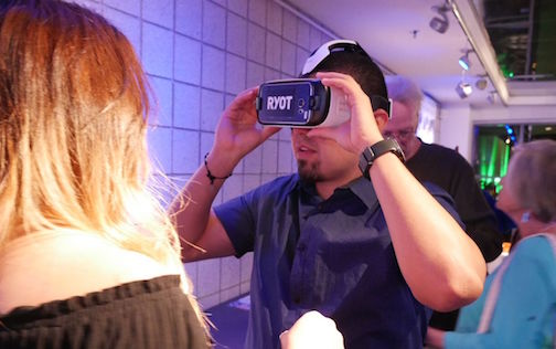Guest at Laguna Hero Fest enjoys a Virtual Reality demonstration