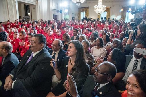 The families of 1936 Summer Olympians, foreground, including the family of four-time Olympic gold medalist Jesse Owens, are recognized as they sit in the audience in the East Room of the White House in Washington, Thursday, Sept. 29, 2016, during a ceremony where President Barack Obama honored the 2016 United States Summer Olympic and Paralympic Teams. (AP Photo/Andrew Harnik)