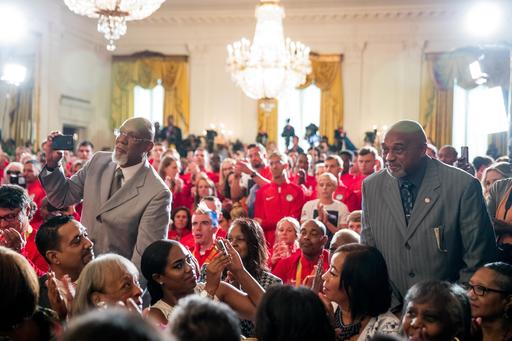 1968 US Olympic athletes Tommie Smith, right, and John Carlos, left, stand as they are recognized by President Barack Obama during a ceremony in the East Room of the White House in Washington, Thursday, Sept. 29, 2016, where the president honored the 2016 United States Summer Olympic and Paralympic Teams. Smith and Carlos extended their gloved hands skyward in racial protest during the playing of