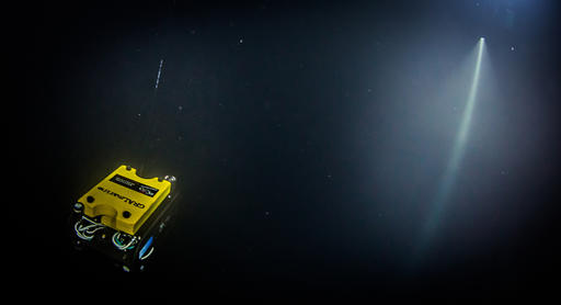 In this underwater photo taken Sept. 27, 2016 in the flooded Hranicka Propast, or Hranice Abyss, in the Czech Republic a remotely-operate underwater robot, or ROV, is exploring for the cave's bottom, which it did not find, despite descending to the depth of 404 meters (1,325 feet), the length of its cord, and revealing it to be the world's deepest known flooded limestone sinkhole, during an expedition led by Polish explorer Krzysztof Starnawski, 'Hranicka Propast - step beyond 400m' that was partly funded by the National Geographic. (Krzysztof Starnawski Expedition via AP)