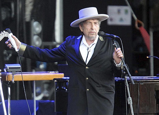 This July 22, 2012, file photo shows U.S. singer-songwriter Bob Dylan performing onstage at