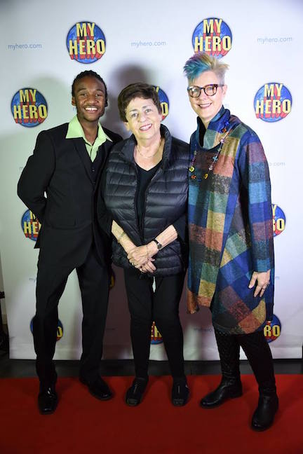Filmmaker Trey Carlisle, Holocaust Survivor Michelle Rodri and Educator Cheri Gaulke at the 2016 MY HERO International Film Festival