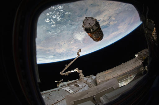 This photo provided by NASA TV shows a Japanese cargo ship before it arrives with Christmas gifts to the International Space Station on Tuesday, Dec. 13, 2016. The capsule — called Kounotori, or white stork — contains nearly 5 tons of food, water, batteries and other supplies. NASA said there also are Christmas presents for the two Americans, three Russians and one Frenchman on board. (NASA TV via AP)