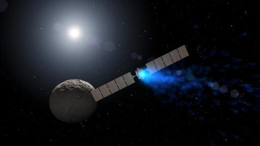 This artist rendering by NASA shows the Dawn spacecraft orbiting the dwarf planet Ceres. New findings presented at the American Geophysical Union meeting on Thursday, Dec. 15, 2016 show that ice can exist in permanently shadowed craters on Ceres and is widespread below the surface. Dawn has been studying Ceres since 2015 after a stop at the asteroid Vesta. (NASA via AP)
