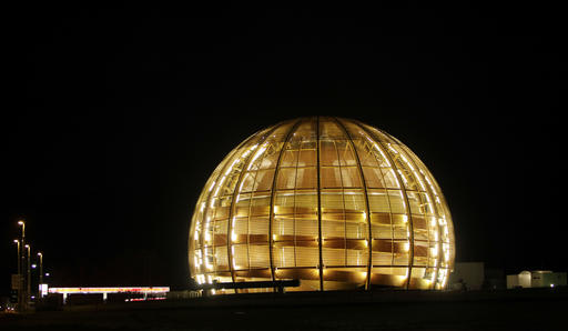 In this March 30, 2010 file picture the globe of the European Organization for Nuclear Research, CERN, is illuminated outside Geneva, Switzerland. (AP Photo/Anja Niedringhaus, file)