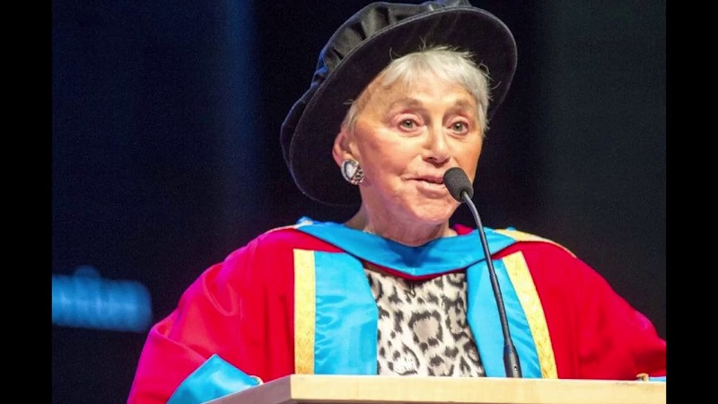 Eva Haller receiving an honorary degree from Glasgow Caledonian University