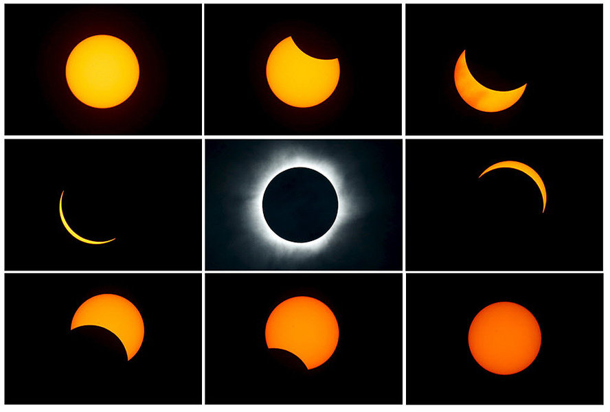 A combination photograph shows the beginning (top L) to the end (top L to bottom R) of a total solar eclipse as seen from the beach of Ternate Island, Indonesia, on March 9, 2016. (Reuters/Beawiharta/File)