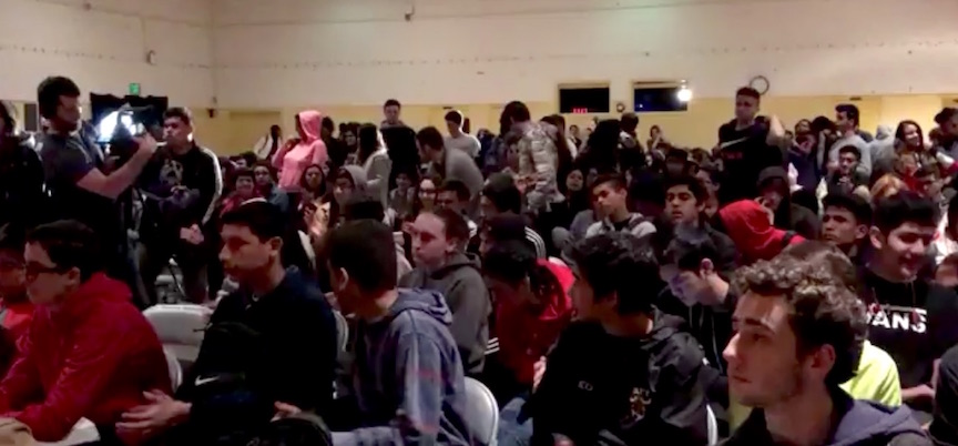 Students at Taft High School listen to Mohamed Sidibay