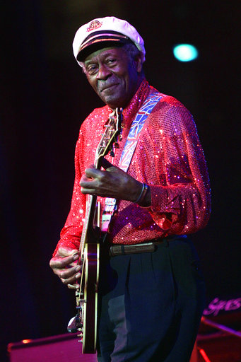 In this Saturday, May 30, 2009 file photo, Chuck Berry performs at The Domino Effect, a tribute concert to New Orleans rock and roll musician Fats Domino, at the New Orleans Arena in New Orleans. On Saturday, March 18, 2017, police in Missouri said Berry has died at the age of 90. (AP Photo/Patrick Semansky)