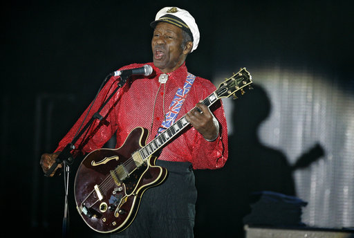 In this Saturday, March 28, 2009 file photo, American guitarist, singer and songwriter Chuck Berry performs during the