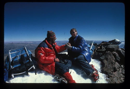 Murph with Jean-Michel Cousteau on Mt. Mismi, the headwaters of the Amazon River at 18,600 feet...too high for an ocean guy. (Richard Murphy)