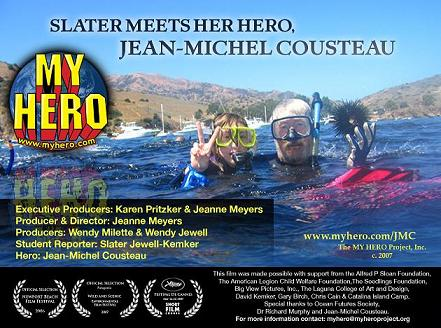 Slater Meets Her Hero Jean-Michel Cousteau (myhero.com)