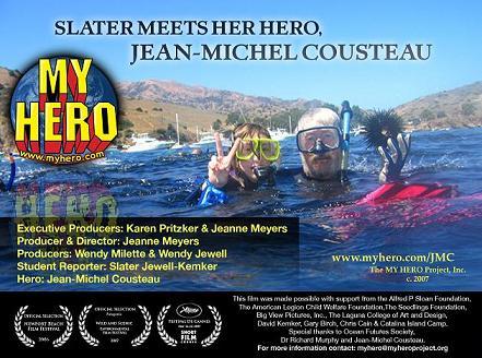 Slater Meets Her Hero Jean-Michel Cousteau (myhero.com)