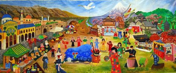 Intercultural Mural Exchange Japan and Syria (Japan Art Miles)
