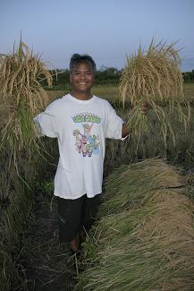 Budi with the harvest from their own land. (Roslin Orphanage)