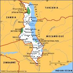 Map of Malawi<br>(William's blog)