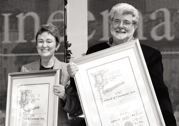 Dean Elizabeth Daley and Director George Lucas (http://www.malibumag.com/)