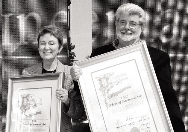 Dean Elizabeth Daley and Director George Lucas (http://www.malibumag.com/)