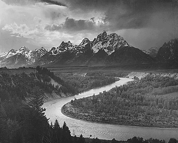 Tetons and the Snake River, Grand Teton National Park, Wyoming (https://www.historyplace.com/unitedstates/adams/G01.jpg)