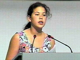 Severn, age 12, at Earth Summit in Rio