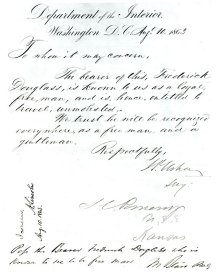 Letter granting Douglass' freedom (National Park Service National Historic Site)
