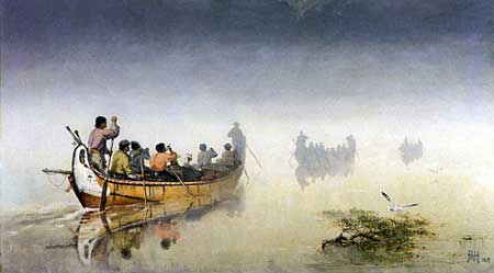 Canoes in a Fog, Lake Superior, 1869 (glenbow museum collection)