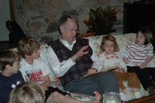 Granddad telling a story to me and my cousins
