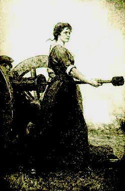Molly Pitcher bringing water to soldiers<br> (https://www.walrus.com/~gibralto/<br>acorn/molly.html)