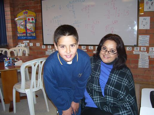 Ana with Javier, one of her students