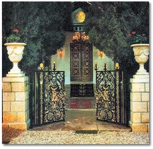 The Entrance to the Shrine of Bahá'u'lláh (http://www.shininglamp.org/postcard/)