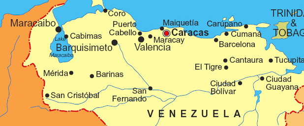 Map of Venezuela (maps.com (licensed))