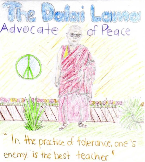 The Dalai Lama (I drew this picture for my art class)